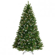 7-1/2 ft. Crystal Spruce Hinged Artificial Christmas Tree with Glittered Tips, Pine Cones with 700 Clear Lights