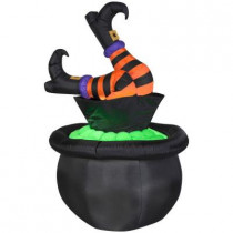 5ft. Animated Inflatable Witch Legs in Cauldron