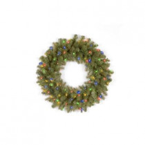 26 in. Pre-Lit LED Downswept Douglas Wreath with Multi-Color Lights