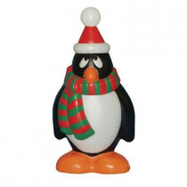 28 in. Holiday Penguin Statue with Red and Green Scarf