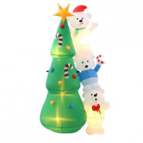 6.5 ft. H Inflatable Polar Bear Putting Star on the Tree Scene