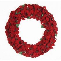 32 in. Battery Operated Artificial Poinsettia Wreath with 50 Clear LED Lights