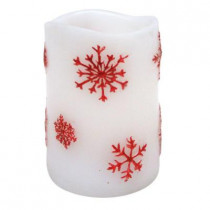 3 in. x 4 in. Flameless LED Candle Embedded Red Snowflake (2-Set)