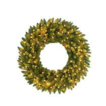 30 in. Feel-Real Jersey Fraser Fir Artificial Wreath with 100 Clear Lights