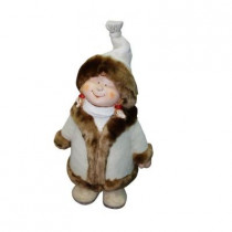 22 in. Girl with White/Brown Coat and Hat Standing Statuary