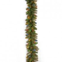 9 ft. Feel-Real Downswept Douglas Fir Artificial Garland with 100 Multi-Color Lights