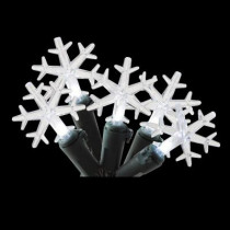 20-Light White Battery Operated Snowflake Light String