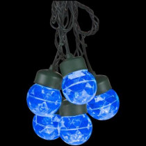 8-Light Icy Blue Projection Round String Lights with Clips