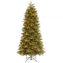 9 ft. Feel-Real Pomona Pine Slim Artificial Christmas Tree with 600 Clear Lights