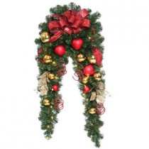 6 ft. Decorative Collection Artificial Mantle Garland with 50 Clear Lights