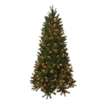 6.5 ft. Pre-Lit FEEL-REAL Bavarian Pine Hinged Artificial Christmas Tree with 400 Clear Lights
