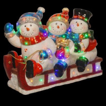 29 in. Sledding with 3 Snowmen with 48 Multi-Color LED Lights