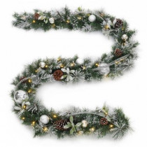 9 ft. Battery Operated Snowy Silver Pine Artificial Garland with 36 Clear LED Lights