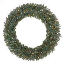 48 in. Battery Operated Meadow Artificial Wreath with 120 Clear LED Lights