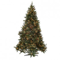 7.5 ft. Alexander Pine Quick-Set Artificial Christmas Tree with Pinecones and 700 Clear Lights
