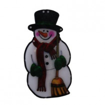 10 in. Snowman with Broom Indoor Hanging Decor with 10 LED Lights