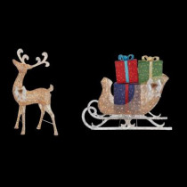 7.5 ft. Pre-Lit Gold Standing Deer and 6 ft. Sleigh with Gift Boxes