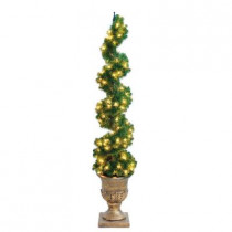 6 ft. Christmas Spiral Potted Artificial Tree with 150 Clear Lights