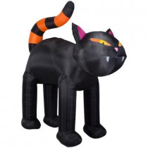 46.46 in. W x 102.36 in. D x 107.50 in. H Inflatable Airblown Black Cat with Orange Stripe Tail