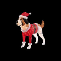 50 in. Pre-Lit Tinsel Dog with Red Santa Coat and Hat