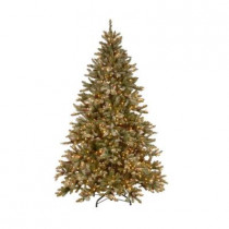 9 ft. Pre-Lit Snowy Fir Hinged Artificial Christmas Tree with Clear Lights