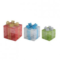 Glittered Gift Boxes Decor (Set of 3)