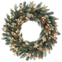 30 in. Copenhagen Blue Spruce Artificial Wreath with 9 Flocked Cones and 100 Clear Lights