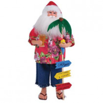 18 in. Bahama Santa with Sign