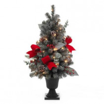 32 in. Snowy Flocked Potted Artificial Christmas Tree with 35 Clear Lights