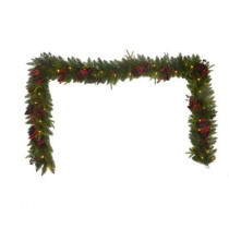 12 ft. Battery Operated Elegant Plaid Artificial Garland with 50 Clear Multi-Function LED Lights