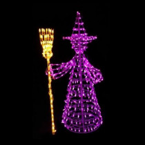 5 ft. 460-Light LED Purple and Yellow Twinkling Witch Sculpture