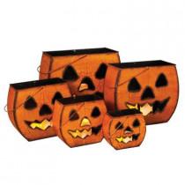 Metal Halloween Pumpkin Luminaries (Set of 5)