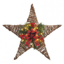 30 in. Battery Operated Vine Star with Red Berries and25 Clear LED Lights