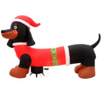 120.08 in. W x 38.58 in. D x 72.83 in. H Inflatable Dachshund in Santa Suit
