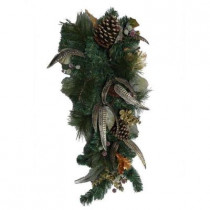 32 in. Unlit Feathers and Fruit Artificial Teardrop