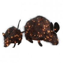 20 in. 35-Light and 30 in. 70-Light Tinsel Rats (Set of 2)