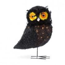 24 in. Pre-Lit Black Tinsel Owl