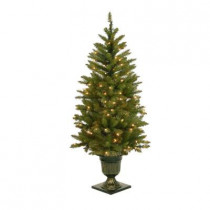 4.5 ft. Pre-Lit LED Dunhill Fir Potted Artificial Christmas Tree with Clear Lights