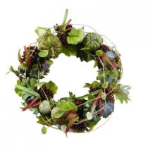 30 in. Artificial Fall Wreath with Heirloom Pumpkins