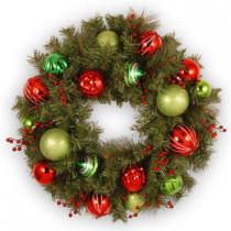 24 in. Unlit Red and Green Ornament Artificial Wreath