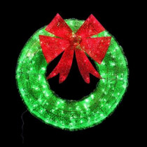 36 in. Green Tinsel Wreath with Twinkling Lights
