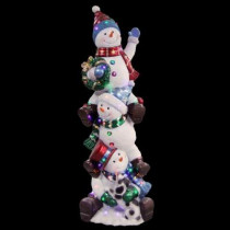 60 in. 50-Light Multi-Color LED Stacking Snowmen with Metallic Painting Finish
