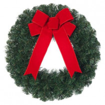 20 in. Noble Pine Artificial Wreath with Red Bow (Pack of 6)