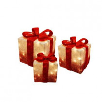 White Christmas Presents with Red Bow and Lights (Set of 3)