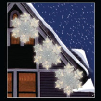 Battery Operated 36-Light Warm White LED Twinkling Snowflakes (3-Pack)