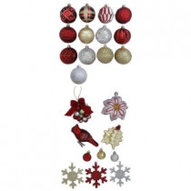Cranberry Frost Assorted Shatter-Resistant Ornament (51-Pack)