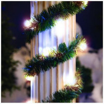 18 ft. Lighted Pine Garland with Warm White 35-Light Micro Mini Twinkling