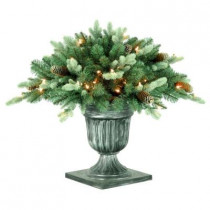 26 in. Copenhagen Blue Spruce Potted Artificial Porch Bush with Pinecones with 50 Clear Lights