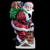 46 in. 30 Multi-Color LED Santa on Chimney with Metallic Painting Finish