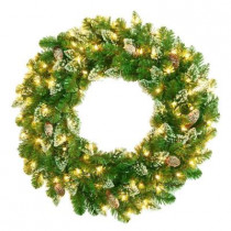 30 ft. Crystal Spruce Artificial Wreath with Glittered Tips, Pine Cone, 100 Clear Lights